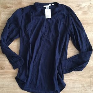 🆕H&M Peasant Blouse In Navy Blue